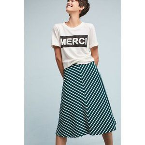 Anthropologie Harlyn Striped Skirt Green Medium